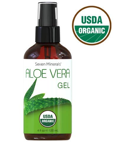 #1 USDA Organic Aloe Vera Gel - NO Preservatives - FRESHLY Made USA Grown 100% Pure Aloe Vera, With No Harmful Ingredients, FREE of GMO - For Healthy Skin, Face, Hair, And After Sun Relief - 4 fl oz ()