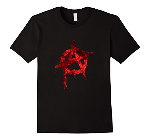 Mens Red Graffiti Anarchy Symbol T Shirt Xl Black