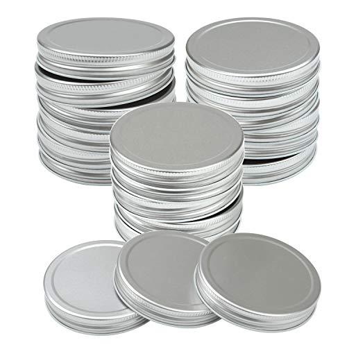 Resinta 40 Pack Regular Mouth Mason Jar Lids Silicone Seals Leak Proof Secure Mason Storage Solid Caps (Silver, Regular -