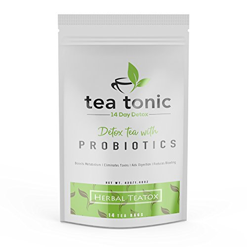 Detox Tea 14 Day Teatox for Weight Loss and Reduced Bloating – Herbal Tea Program with Matcha Green Tea and Probiotics by Tea Tonic