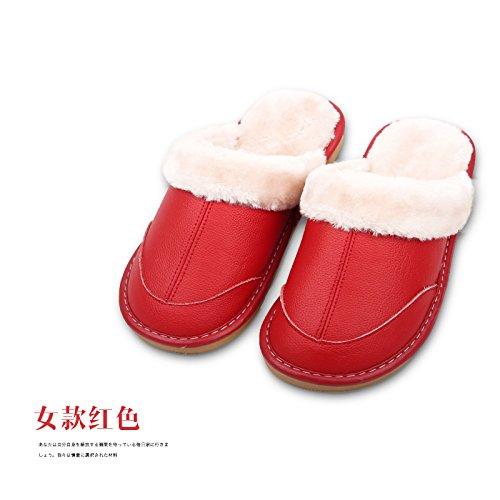 Des couples au chaud Chaussons en cuir Chaussons en coton épais intérieur accueil hiver femelle plancher bois anti-dérapant accueil chaussons pour hommes, 260 (37-38) et rouge (femelle)