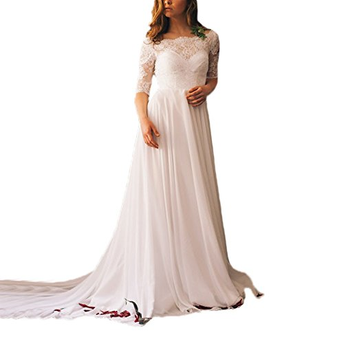 AbaoWedding-Womens-Lace-23-Sleeve-Backless-Chapel-Train-Long-Chiffon-Wedding-Gowns