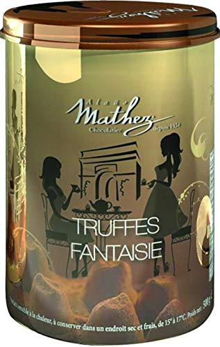 Mathez - französische Schokoladentrüffel (Truffes Faintaise) in goldener Metalldose Motiv 'Tea Time' (500 g)
