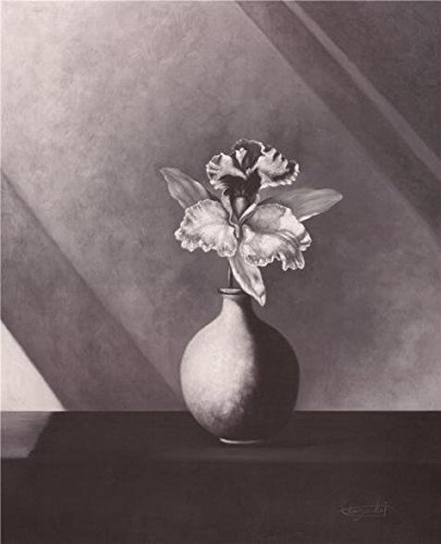 High Quality Polyster Canvas ,the Vivid Art Decorative Canvas Prints Of Oil Painting 'Flower In Black-and-White', 18x22 Inch / 46x56 Cm Is Best For Foyer Decor And Home Artwork And Gifts
