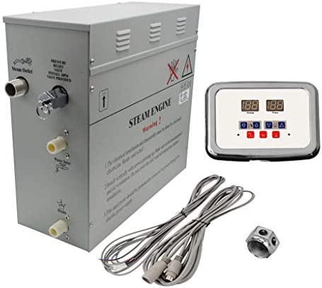 Superior 6kW Self-Draining Steam Bath Generator with Waterproof Programmable Controls and Chrome Steam Outlet