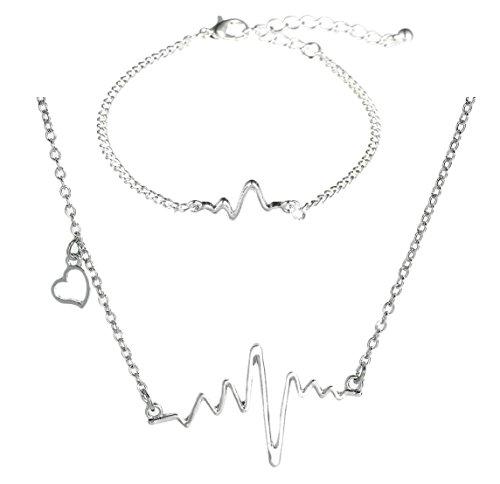 Heartbeat Necklace & Bracelet 2 Pack, Heart Electrocardiogram EKG (Silver Tone) (9 Inch Adjustable Linked Bracelet)