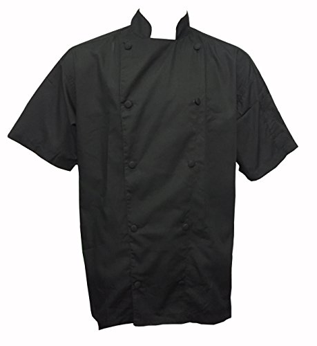 (CHEFSKIN CHEF JACKET BLACK LIGHTWEIGHT SHORT SLEEVE cool & comfortable, ultralightweight poplin, won't fade, won't shrink. (Write down size needed in the GIFT message))