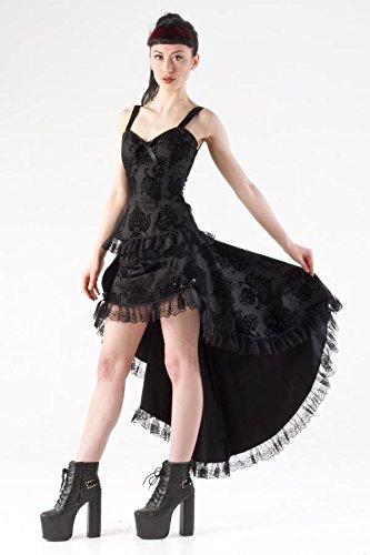 Saloon Nero Di Burlesque Gotico Rivestimento Tessuto Nero Gonna Kiara Motivo Colore nw784