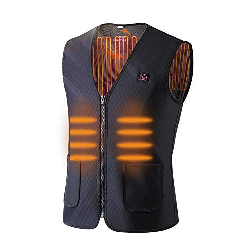 Dumcuw USB Charging Heated Vest, Outdoor Lightweight Magnetic Therapy Heated Vest with Adjustable Temperature for Men, Women, Cold Proof Washable Heating Waistcoat for Travel, Hiking, Skiing, Camping