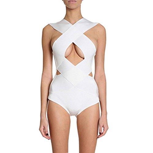 Bodysuits Hlbandage Bandage Piece Cross Keyhole One Rayon Blanc Backless 7q70pwT