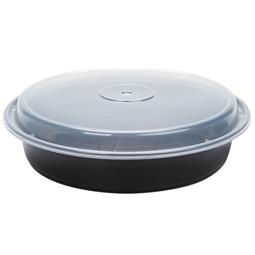Pactiv NC948B CPC 48 oz Black Round Container & Lid - Case of 150