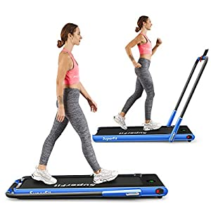 2 in 1 Folding Treadmill, 2.25HP Under Desk Electric Treadmill with Bluetooth Speaker& Remote Control& LED Display…