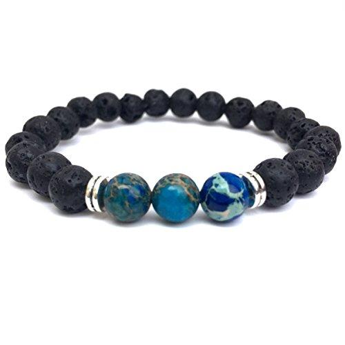 GOOD.designs Chakra Perlen-Armband aus Lava-Natursteinen, Weltkugeln Marmoriert in Blau / Türkis