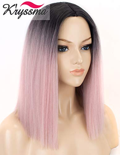 K'ryssma Ombre Pink Synthetic Wig with Dark Roots Short Bob Wigs for Women 2 Tone Black to Baby Pink Bob Ombre Wig Heat Resistant