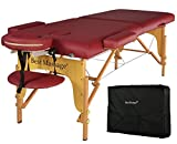 Burgundy PU Portable Massage Table w/Free Carry Case