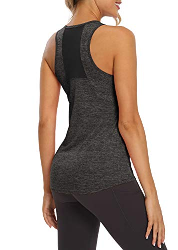 Mippo Women's Workout Tops Yoga Tank Tops Mesh Muscle Shirts Exercise Running Tops