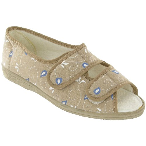 Mirak Touch Fastened Textile Lined Womens Sandals - Beige - Size 3 4 5 6 7 8 Beige