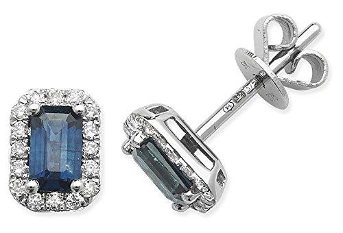 Diamant 0,15ct et saphir octogone Boucles d'oreilles clous en or 9ct Or Blanc