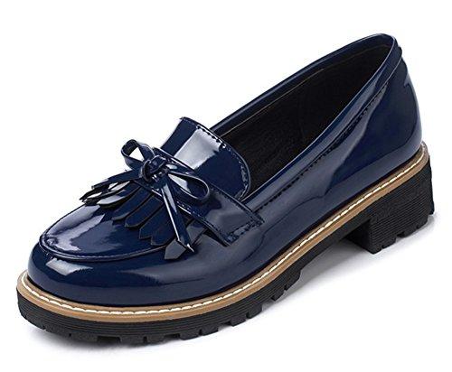 Aisun Femme Frangée Bout Rond Taille Basse Habillé Chunky Bas Talons Slip Sur Mocassins Chaussures Avec Des Arcs Bleus