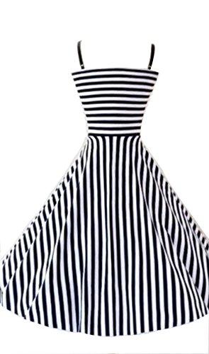 ILover Classy Vintage Audrey Hepburn Style 1950's Rockabilly Swing Evening Dress (Black1, Medium)