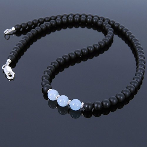 [Men and Women Necklace Handmade with 5mm Matte Black Onyx 6mm Aquamarine Healing Gemstone and Genuine 925 Sterling Silver Spacers, Beads & Clasp] (Aqua Onyx)