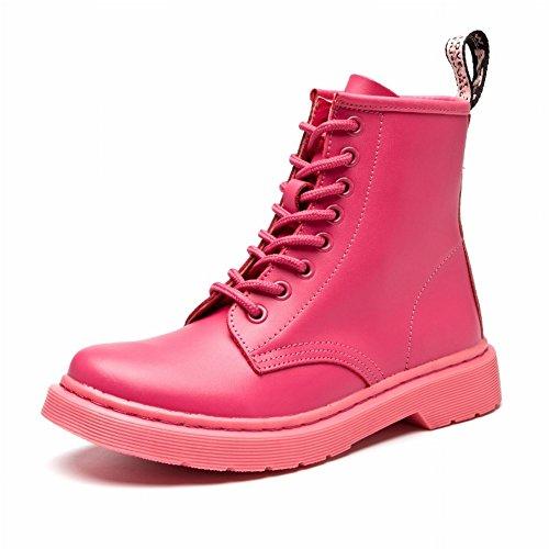 Martin Botas Mujer Mujer Botas Cinturón Plano Locomotora Zapatos de Mujer Británica Botas Zapatos Blancos Pequeños , rosado , EUR34.5