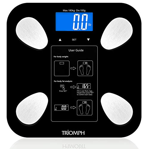 - Triomph Body Fat Scale, Digital Bathroom Scale Body Composition Analyzer with Backlit LCD for Body Weight, Fat, Water, Muscle, BMI, Bone Mass and Calorie, 10 Users, 400 lbs Fat Loss Monitor, Black
