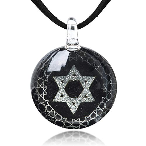 Hand Blown Glass Jewelry Black Silver Star of David Round Pendant Necklace 17-19'' Leather Cord