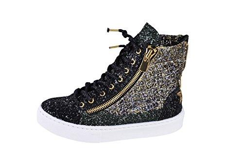 Donna Scarpa 36 Tela Perline di Gold Oro Nero Scarpe 2Star qZA6wfa