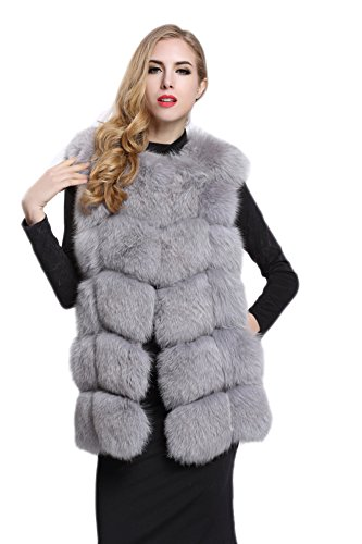 Top Fur Topfur Women's Genuine Fox Fur Whole Skin Fur Vest Grey Waistcoat US 4 by Top Fur
