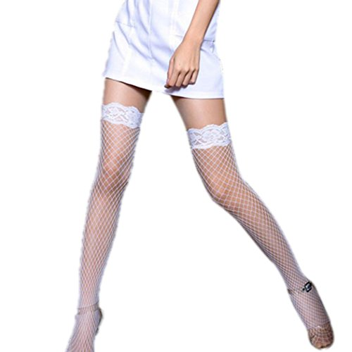 Women Lace Fishnet Stockings Thigh High Net Pantyhose(White) by skine