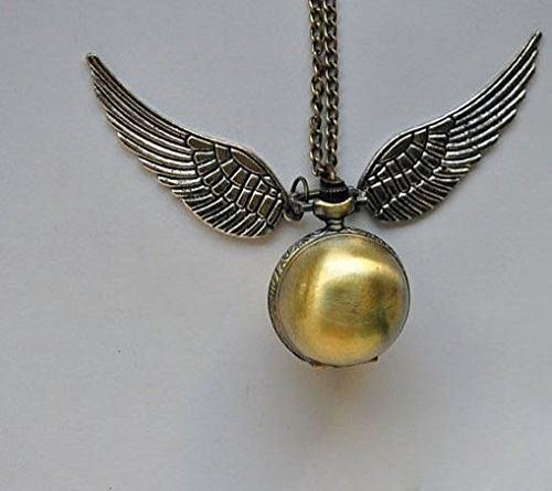 Harry Potter Snitch Watch Pendant Necklace Steampunk Quidditch Wings Clock (Harry Potter Quidditch Costume Kit)