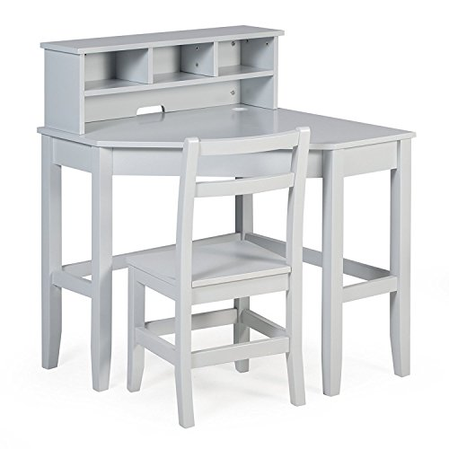 Juvenile Kids Solid Wood Compact Corner Storage Desk With Reversible Hutch Chair and Our Exclusive Ebook Included (Grey) - Compact Kids Desk