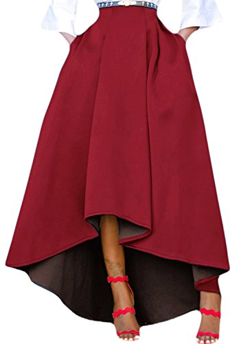 LOSRLY Women Solid High Waist High Low Pleated A-Line Maxi Skirt With Pocket-Burgundy S 4 6