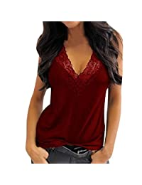 SUSENSTONE Tank Top Women Fashion Solid Sleeveless Lace Casual Top Vest Shirt