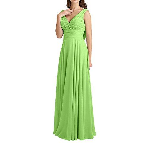 Partykleider Brautjungfernkleider Chiffon Charmant Elegant Ausschnitt V Grün Lang Abendkleider Damen wYY6xHq0