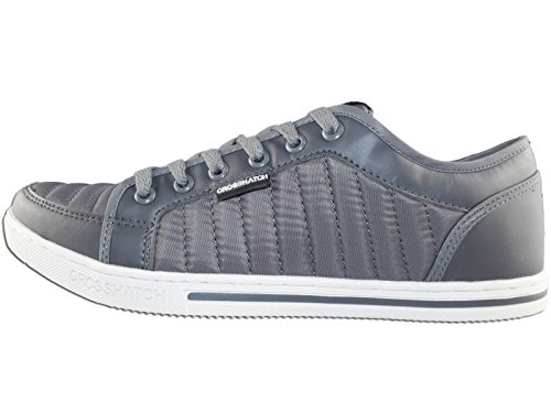 Mens Crosshatch Valmer Designer Quilted Trainers Sneakers UK Casual Joggers Shoes Steel Grey
