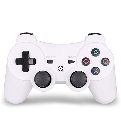 AUGEX PS3 Controller,Wireless Gaming Controller, PS3 Double Vibration Game Controller with Upgrade Sixaxis and High-Precision Joystick for Playstation 3 (White)