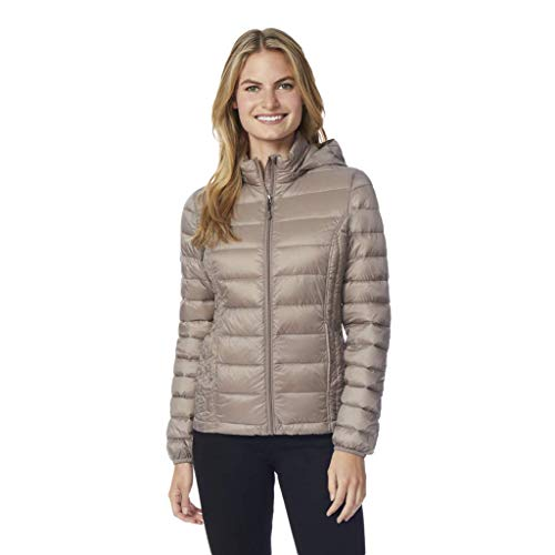 32 DEGREES Womens Ultra Light Down Packable Jacket, Taupe, MED -