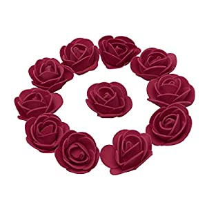 KODORIA 100pcs Artificial Foam Rose Head Artificial Rose Flower for DIY Bouquets Wedding Party Home Decoration - Dark Red 65