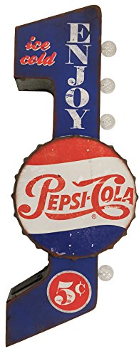 (Pepsi-Cola Reproduction Vintage Advertising Sign - Battery Powered LED Lights, Double Sided Metal Wall Mounted - 30 x 10 x 4 inches)