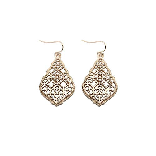 - Bohemian Gold Filigree Hollow Teardrop Statement Earrings,E2894 Rose Gold