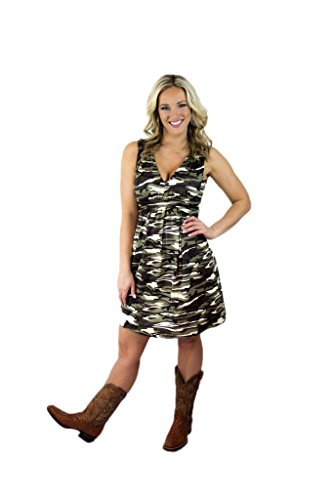 Charm Your Prince Women's Sleeveless Summer Green Camo Camouflage Sundress XS ()