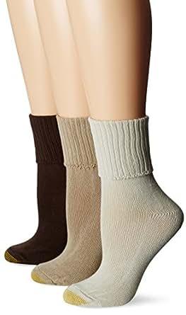 Gold Toe Women's Bermuda 3 Pair Socks, Dark Tan/Parchment ...