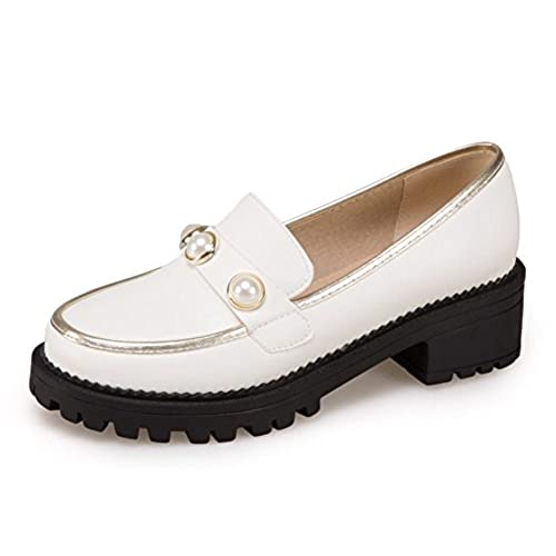 55e0ab6ba581 Aisun Women s Low Cut Beaded Round Toe Dressy Block Mid Heel Platform  Loafers Slip On Pumps