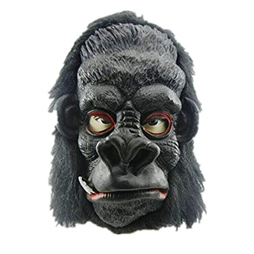(mywaxberry Halloween Festival King Kong Gorilla Cosplay Black Latex Fur mask)