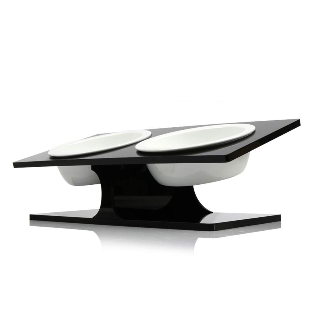 Black Onnear Acrylic Stand with Cat Food Bowl-15 Degree Tilted Platform Pet Feeder,Height Pedestal Design Rack With Two bowls,for Dry or Wet Food (color   Black)
