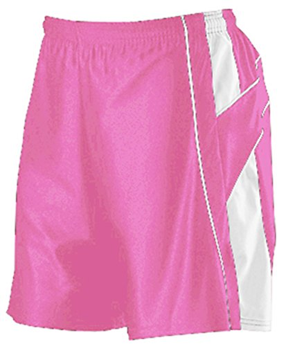 Pink Long Shorts - Women's Basketball Shorts by Alleson (Medium, Pink/White)