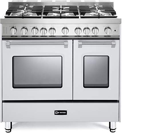 Verona Prestige VPFSGG365DW 36 inch. All Gas Range 5 Sealed Burners Double Oven Convection Storage Drawer True White ()