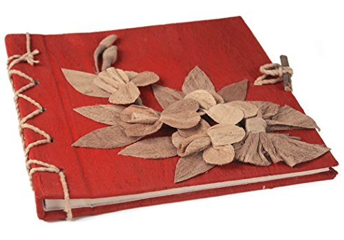 Flaura Mini Red Handmade Photo Album, Classic Style Pages (20cm x 20cm x 2cm) (Wedding Photo Album Natural)